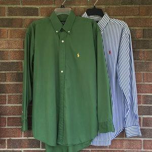 (2) Mens Ralph Lauren LS Dress Shirts Sz Medium